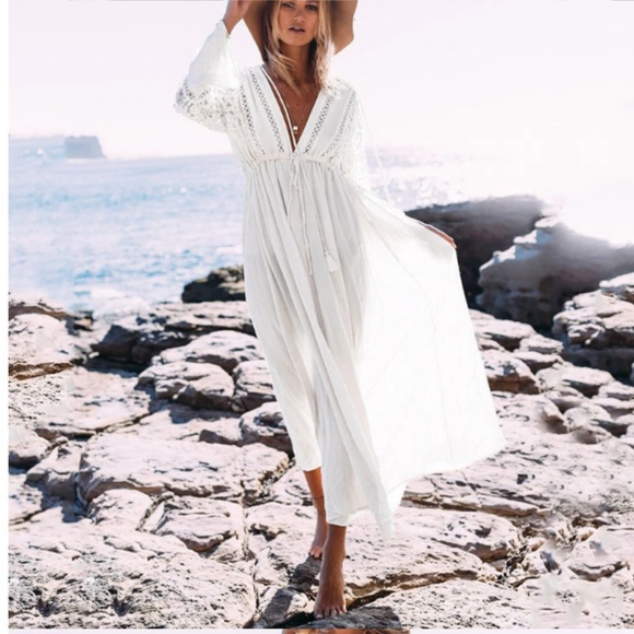 e4d90d1eec Swim | Boho White Lace Dress Coverup | Poshmark